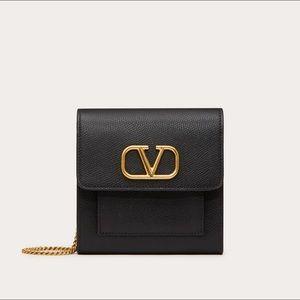 VALENTINO VLOGO Grained Calfskin Flap Chain Wallet